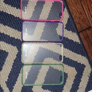 4 I phone 6 cases in pink, purple, tan and green